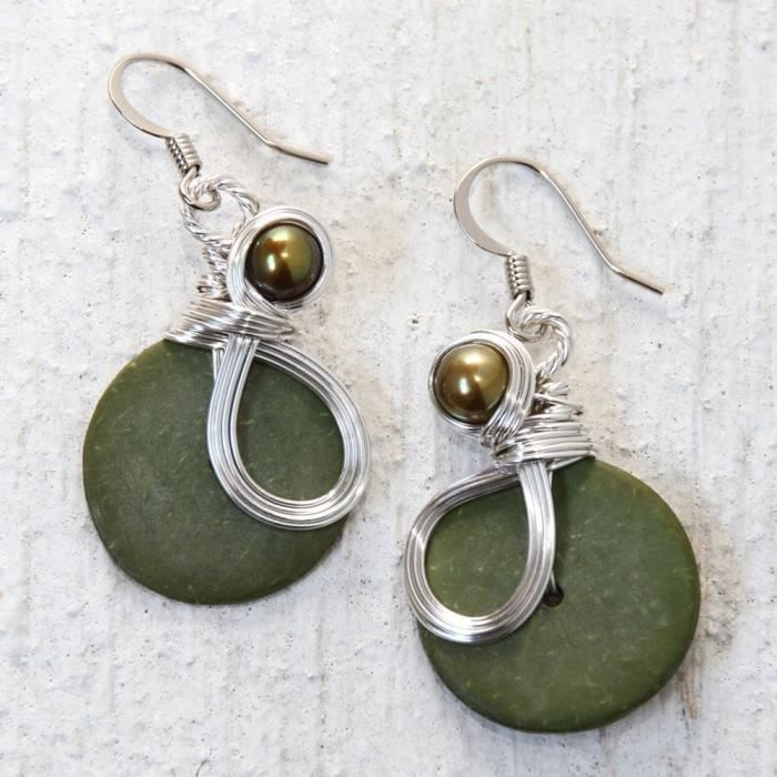 Womens Olive Green Wire Wrapped Earrings With Cultured Pearls WPO5J