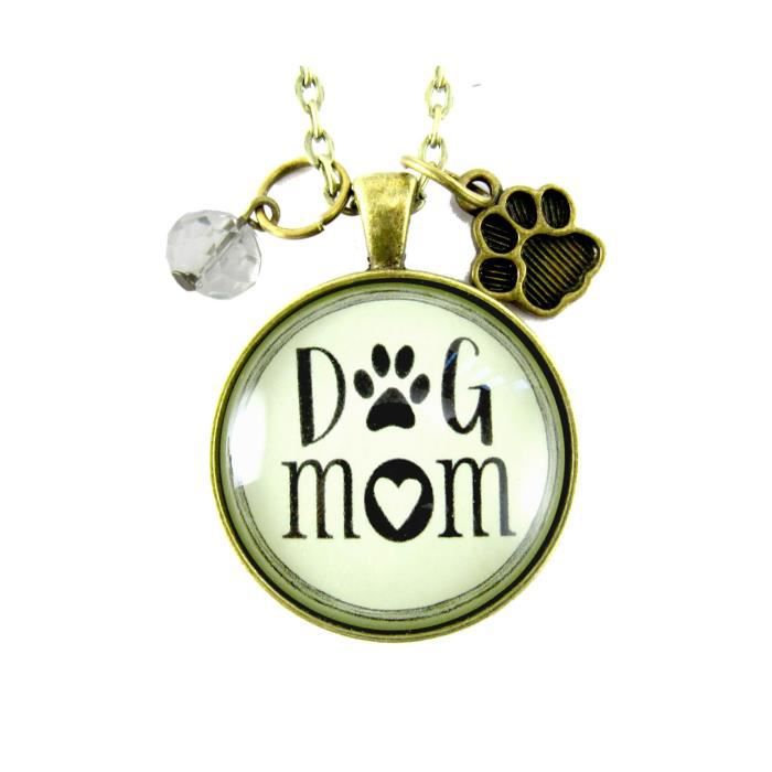 Womens 36 Dog Mom Necklace Hipster Style Jewelry Paw Print Charm J3385