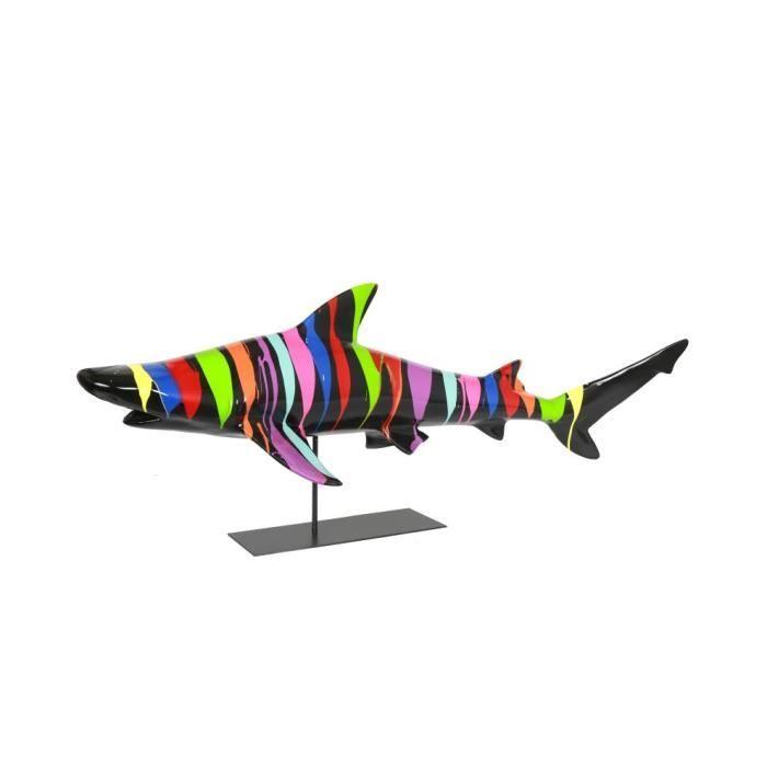 STATUE - STATUETTE Statue requin en résine poisson multicolore fond n