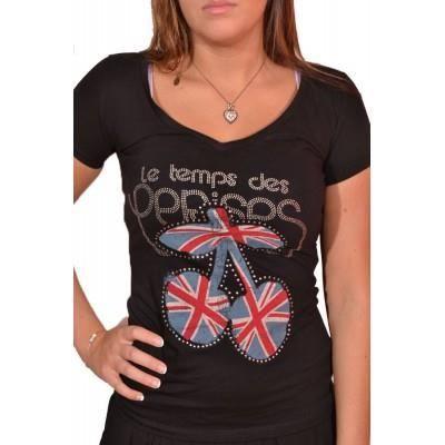 T Temps Vente Rouge Achat Cerises Tee Le Rose Shirt Des OnfpZq
