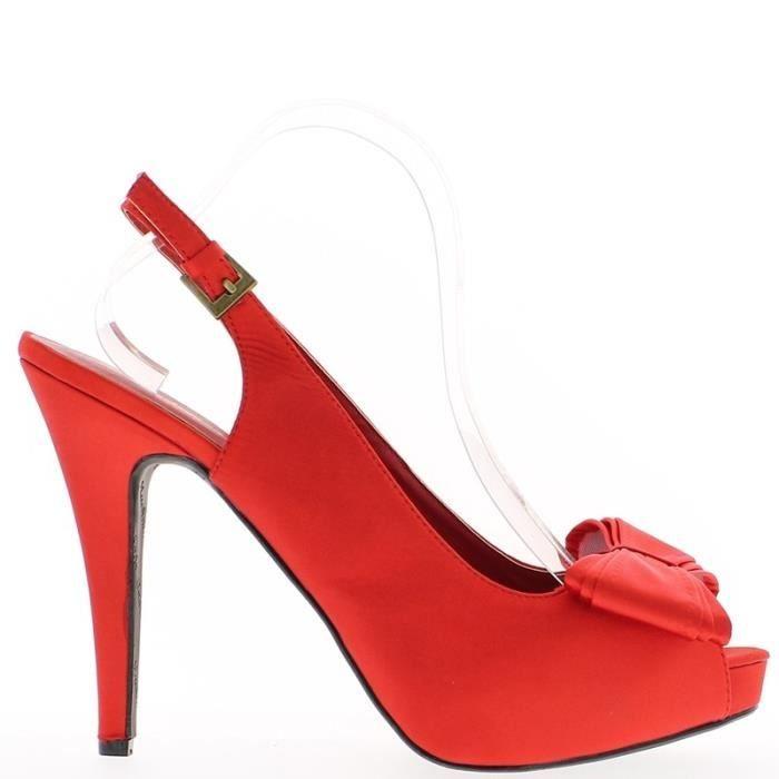 Sandales rouges satinées grande taille à talon de 14cm et plateforme avec noeud