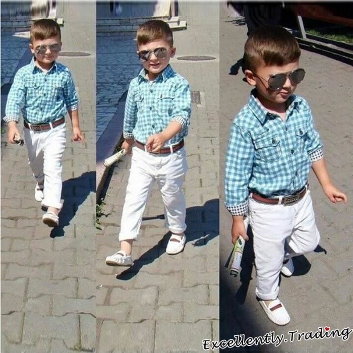 2,8 Ans Mode Garçon Vêtements Enfants 3PCS Ensemble:Chemise à carreaux +  Pantalon + Ceinture