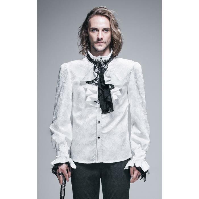 3881b208d03e82 Chemise à jabot aristocrate blanche et noire, brocard, dentelles, gothique  romantique