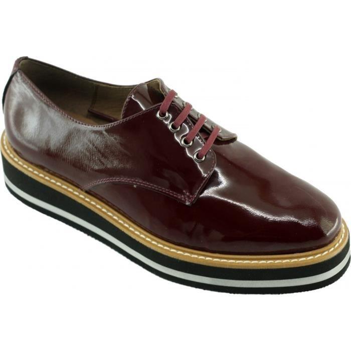 54d2e6e4ef363a Heidy – Derby compensé à lacet et semelle en mousse légère chaussures Femme  marques Angelina Paris cuir vernis bordeaux