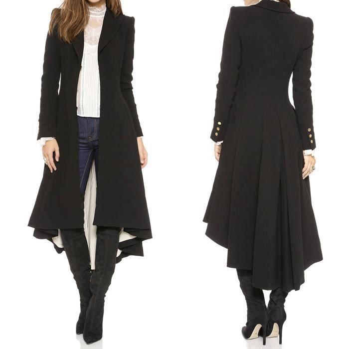 Caban Chaud noir De Femmes Pardessus Parka Manteau D'hiver Outwear Machaon Trench Veste wxdaq