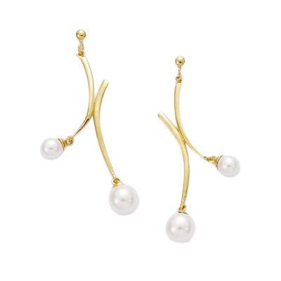 Boucles doreilles Perles Blanches Plaqué Or