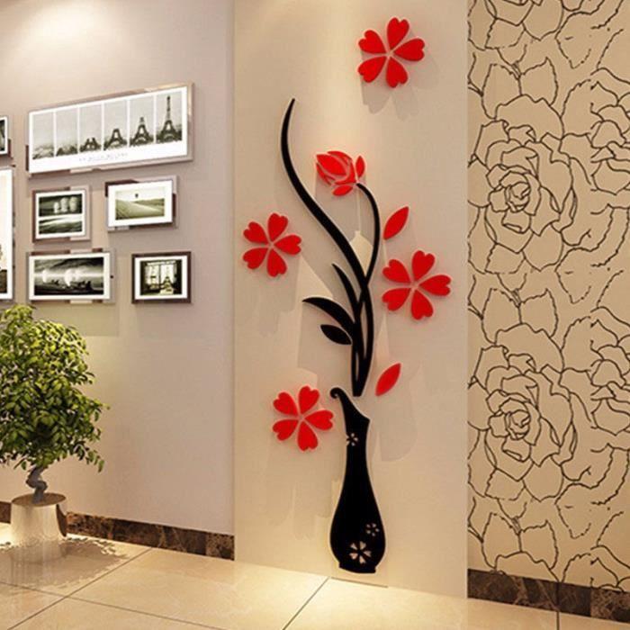 3d diy miroir fleur sticker autocollant mural decal art for Autocollant mural