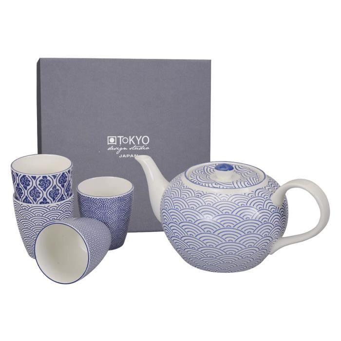 tokyo design studio th i re 1 2l 4 tasse en porcelaine motif nippon blue achat vente. Black Bedroom Furniture Sets. Home Design Ideas