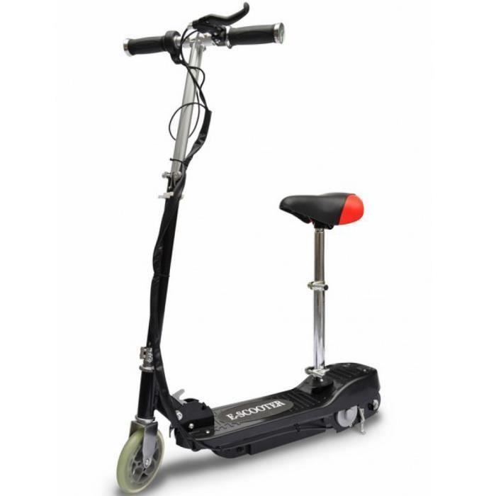 120w trottinette électrique 12 km / h noire avec selle e-scooter