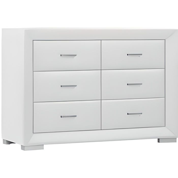 Commode Basse Capitole 6 Tiroirs Simili Blanc Achat Vente