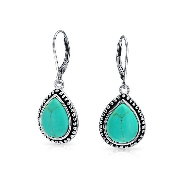 Bling Jewelry Turquoise reconstituée de larme en Argent Sterling Boucles darrière