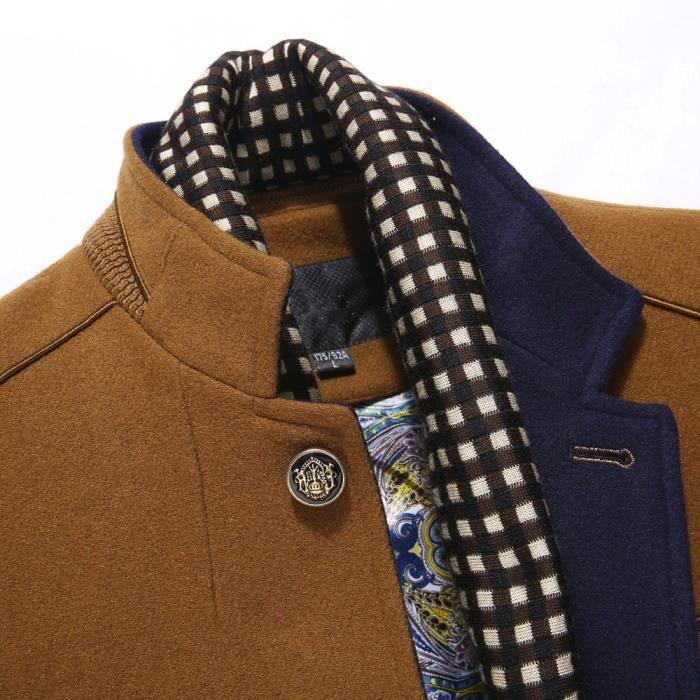 Manteau Kaki Jacket Casual Mode Hommes Trench Thicken Pardessus Laine Long D'affaires À Slim qaxtw7A