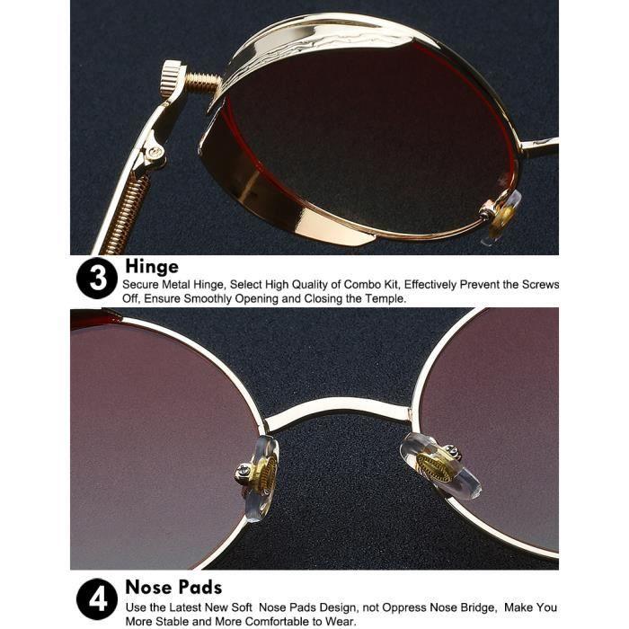 Gothic Steampunk Vintage Metal Hommes et femmes Lunettes de soleil rondes Retro Eyewear Cadre dor UV400 de qualité supérieure Rouge