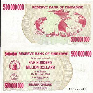BILLET DE BANQUE Billets de collection Zimbabwe Pk N° 60 - 500 M…