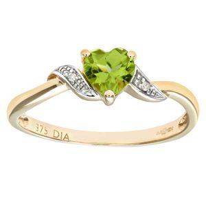 BAGUE - ANNEAU Revoni Bague Péridot et Diamant Or Jaune 375° Femm