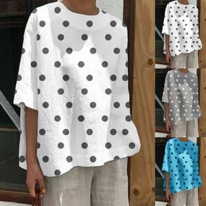 02eac80605 CHEMISIER - BLOUSE Femmes Casual pois blouse ample col rond manches l