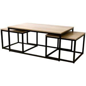 TABLE BASSE Ensemble De  3 Tables Gigognes Rectangle Et Carrée