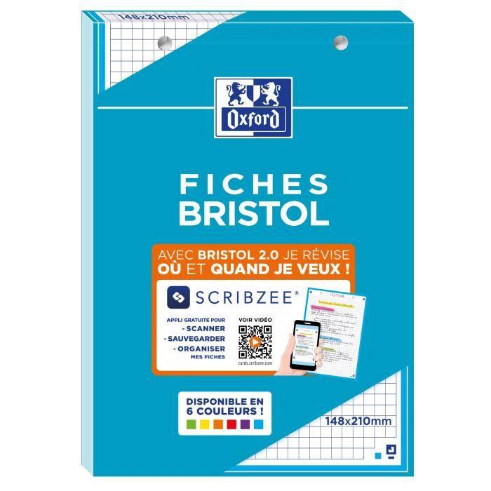 OXFORD Bloc fiche bristol 2.0 perforé - 14,8 x 21 cm - 30 fiches - 210g - 5x5 - Bleu