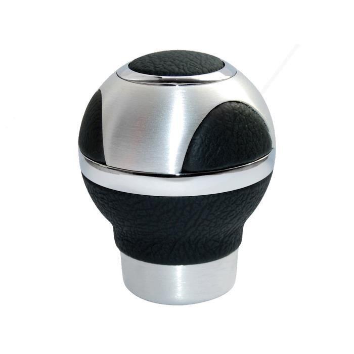 Pommeau sphérique - Cuir véritable - Aluminium brossé