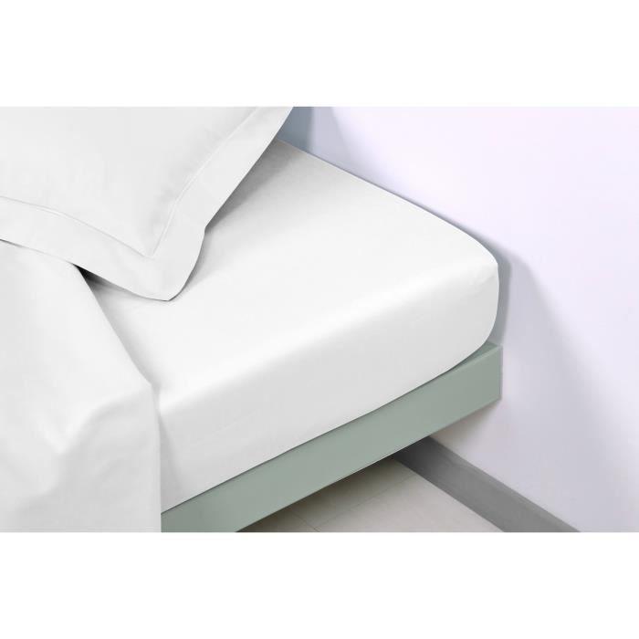 VENT DU SUD Drap plat CONCERTO Satin de coton - 180x200 cm - Blanc neige