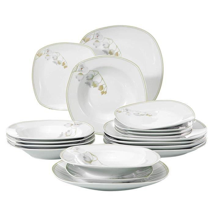 Veweet EMILY 18pcs Assiettes Pocelaine Service de Table Assiettes ... 640a94b7812b