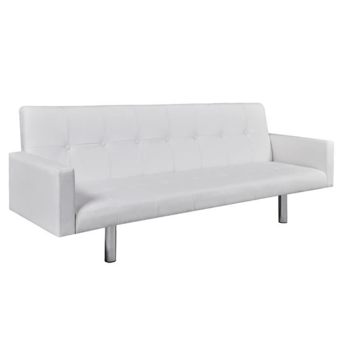 Canapé convertible similicuir blanc avec accoudoirs Lio - Achat ... 107ac3cee429