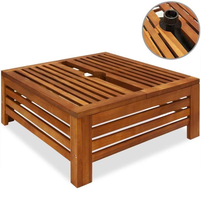 Deuba Table D Appoint Extérieur 62x62x25 Cm Cache Pied De Parasol Diam Max 9 Cm En Bois D Acacia