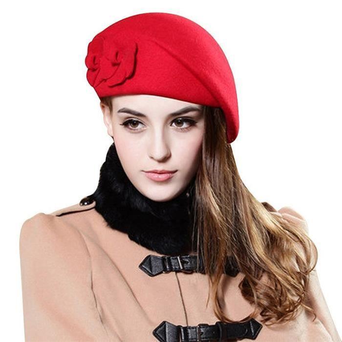 6cc3a38eb70b Beret Femme Laine Hiver Chapeau Element avec Fleures Style Anglais Rétro -  Très Chic Mailanda