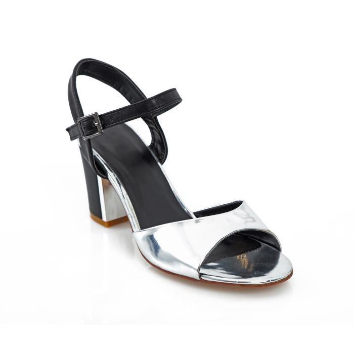 Sandales métallisées à talon carré femme