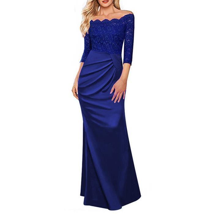 Longue robe de demoiselle dhonneur de la soirée des femmes@Bleu