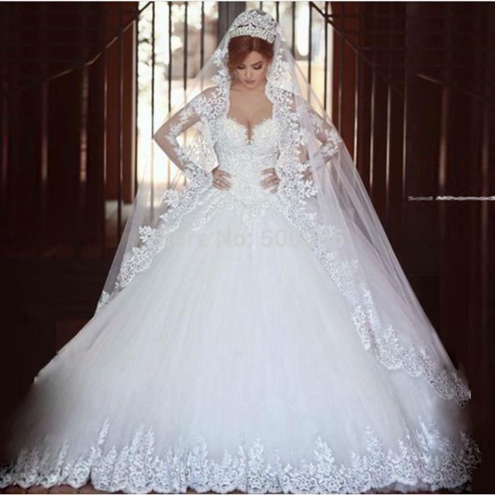 Tulle De Luxe Robe De Mariée Manches Longues Applique Robe De Bal Robes De Mariage Plus Size
