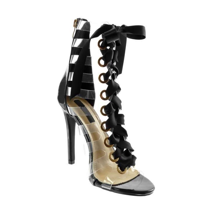 Angkorly - Chaussure Mode Sandale Escarpin stiletto spartiates montante femme Lacet ruban satin multi-bride transparent Talon haut