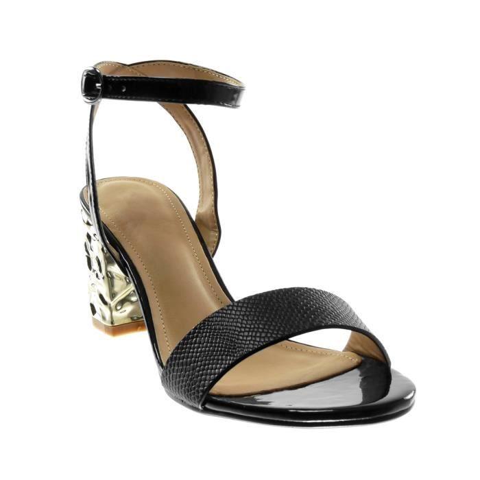 Angkorly - Chaussure Mode Sandale ouverte lanière cheville femme peau de serpent brillant lanière Talon haut bloc 7.5 CM - Noir -