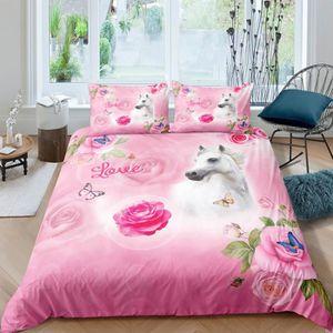 HOUSSE DE COUETTE SEULE Parure de lit cheval blanc roses papillons love ro
