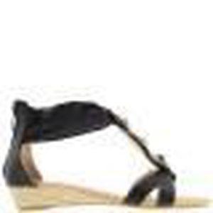 SANDALE - NU-PIEDS Sandales compensées noires à talons de 3cm et déco