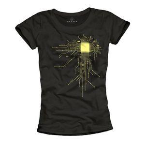 T-SHIRT T-Shirt geek femme GAMER CPU noir Taille M