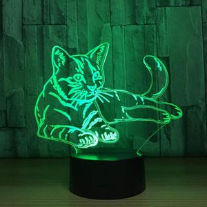 LAMPE A POSER 3D Lampe Optique Illusion Veilleuse Chat Forme 3D