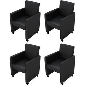 FAUTEUIL 4pcs Fauteuil chaises à roulettes en cuir artifici