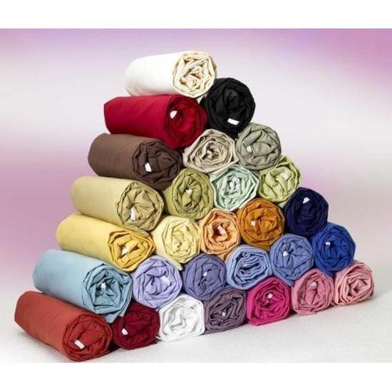 Coton 57 fils couleur Drap housse 130x190 uni    Achat / Vente