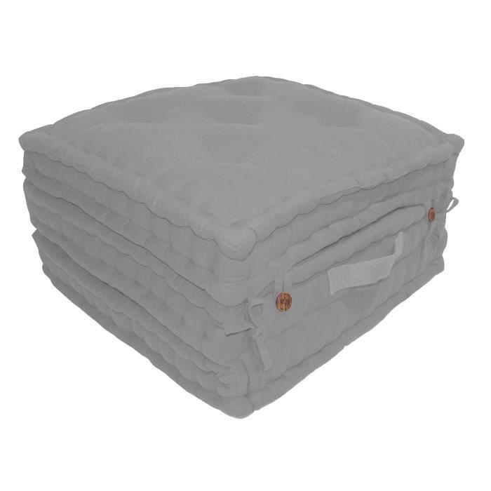 Enveloppe : 100% toile de coton - Garnissage : 100% coton - Dimensions : 60x60x180 cm - Coloris : gris clairCOUSSIN DE SOL - MATELAS DE SOL