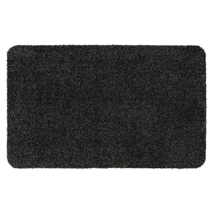 Couleur graphite mouchetée de noir - Lavable 30° - 100% polyester - 50x80 cm - Usage intérieurTAPIS D'ENTREE - TAPIS DE SEUIL
