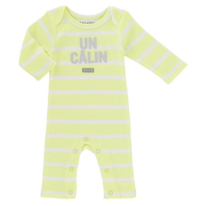 Body bébé Mixte SUCRE D'ORGE - combinaison manches et jambes longues Rayé Jaune