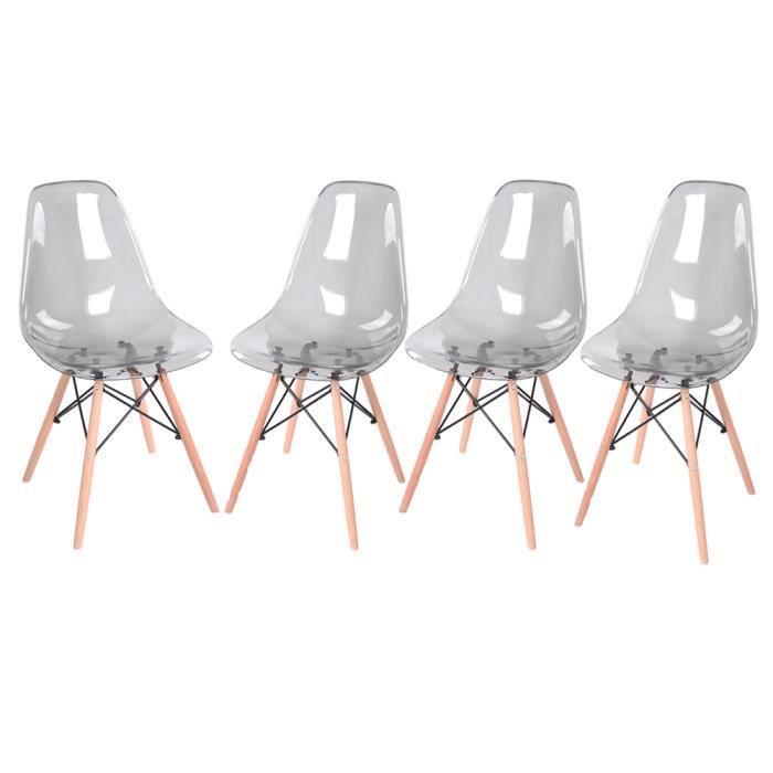 327b77dfb0c083 Lot de 4 Chaises de Salle à Manger Chaises de Cuisine Chaises Scandinaves  Assises en Plastique Transparent Gris Pieds en Bois Métal