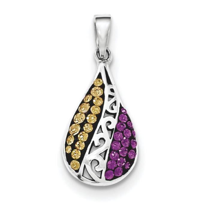 Champ et Argent 925/1000–Cristal-Violet-pendentif en forme de goutte