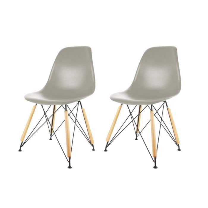 chaise grise pied en bois achat vente pas cher. Black Bedroom Furniture Sets. Home Design Ideas