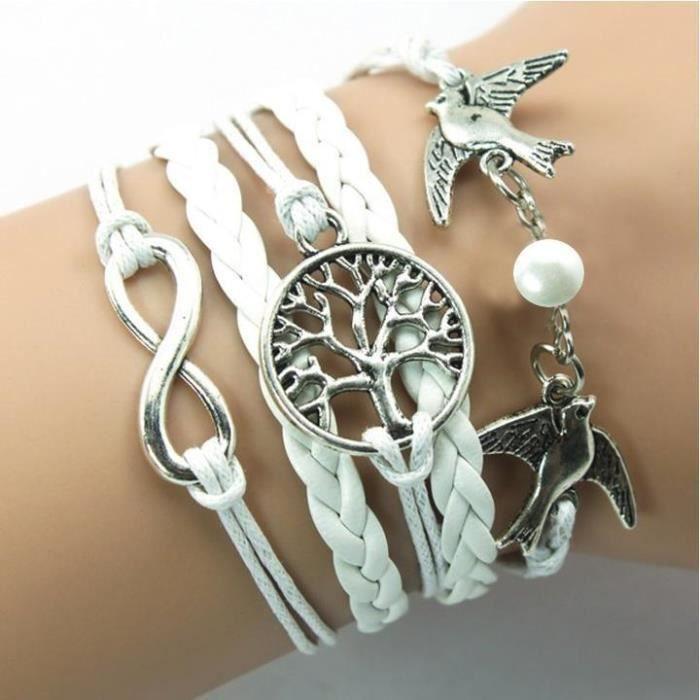 pas cher pour réduction d6662 58f7b Bracelet Arbre de Vie Personnalisé Bracelet Blanc