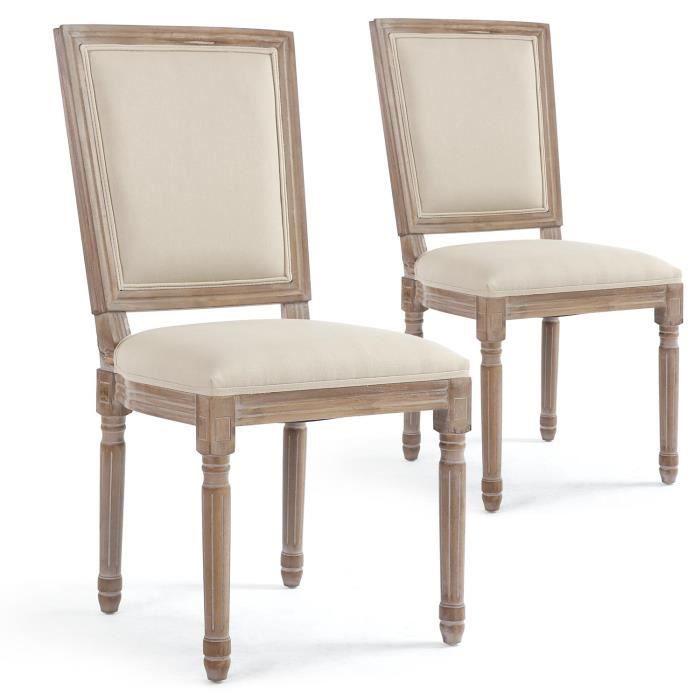Lot de 2 chaises classiques Reine Tissu Beige - Achat / Vente chaise ...