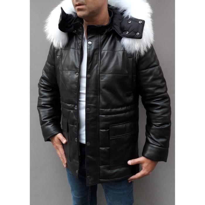 sélectionner pour authentique achat spécial Los Angeles Doudoune cuir avec fourrure FOURRURE BLANCHE