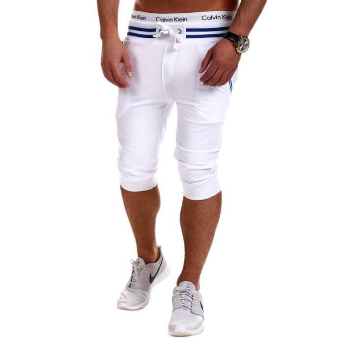 pantacourt homme sport court shorts hommes slim fit plage de sable blanc blanc achat vente. Black Bedroom Furniture Sets. Home Design Ideas