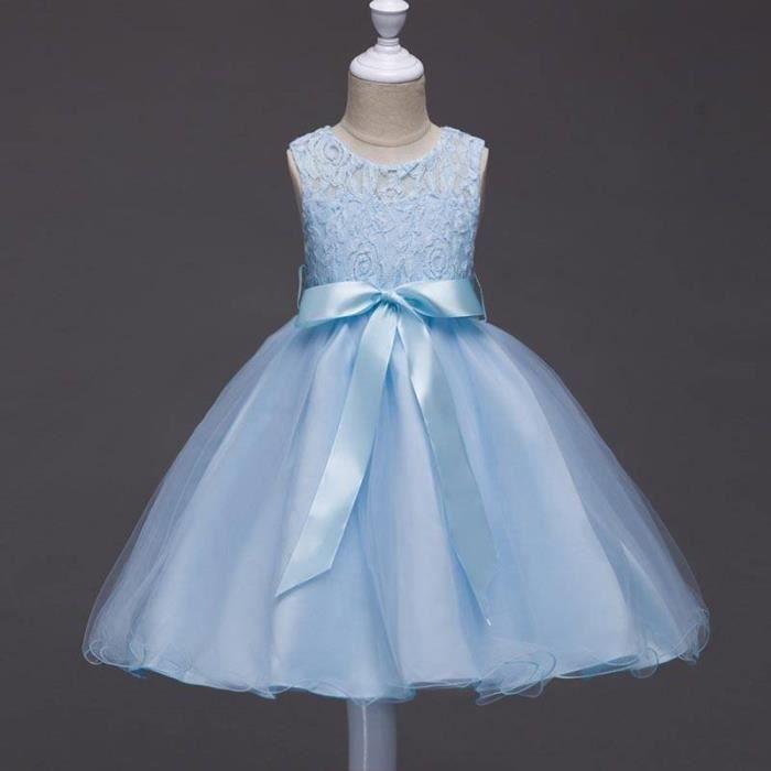2736489814fe8 Robe demoiselle de honneur fille 4-12 ans Robe Cérémonie-Mariage Fille Jupe  Sans manches
